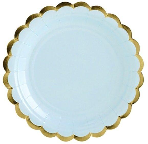 Talerzyki jasnoniebieskie ze złotymi brzegami - 18 cm - 6 szt.