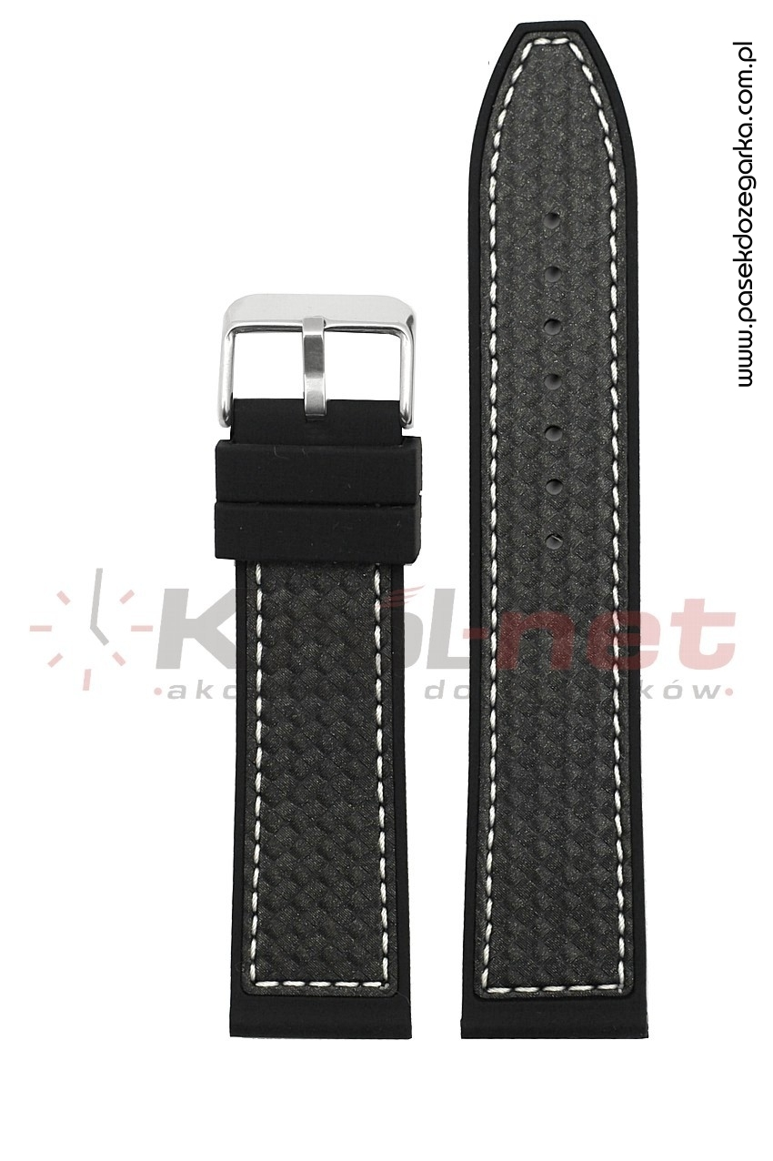 Pasek RP057/B/24 - czarny, imitacja karbonu, long