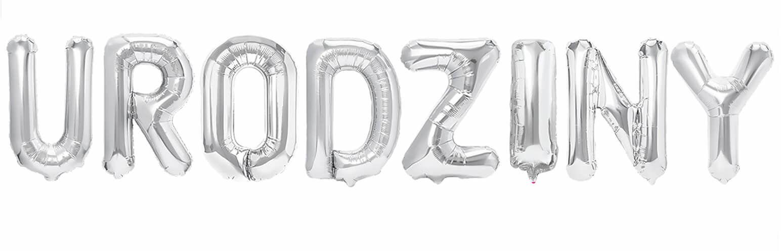 """Zestaw balonów foliowych """"Urodziny"""" srebrny - 40 cm"""