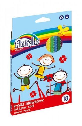 Kredki ołówkowe FIORELLO Super Soft, trójkątne 18 kolorów 170-2187