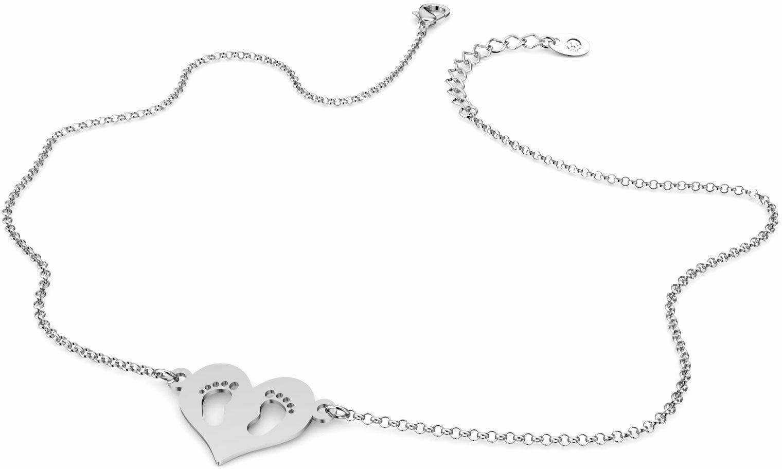 Naszyjnik srebrny z sercem i stopkami