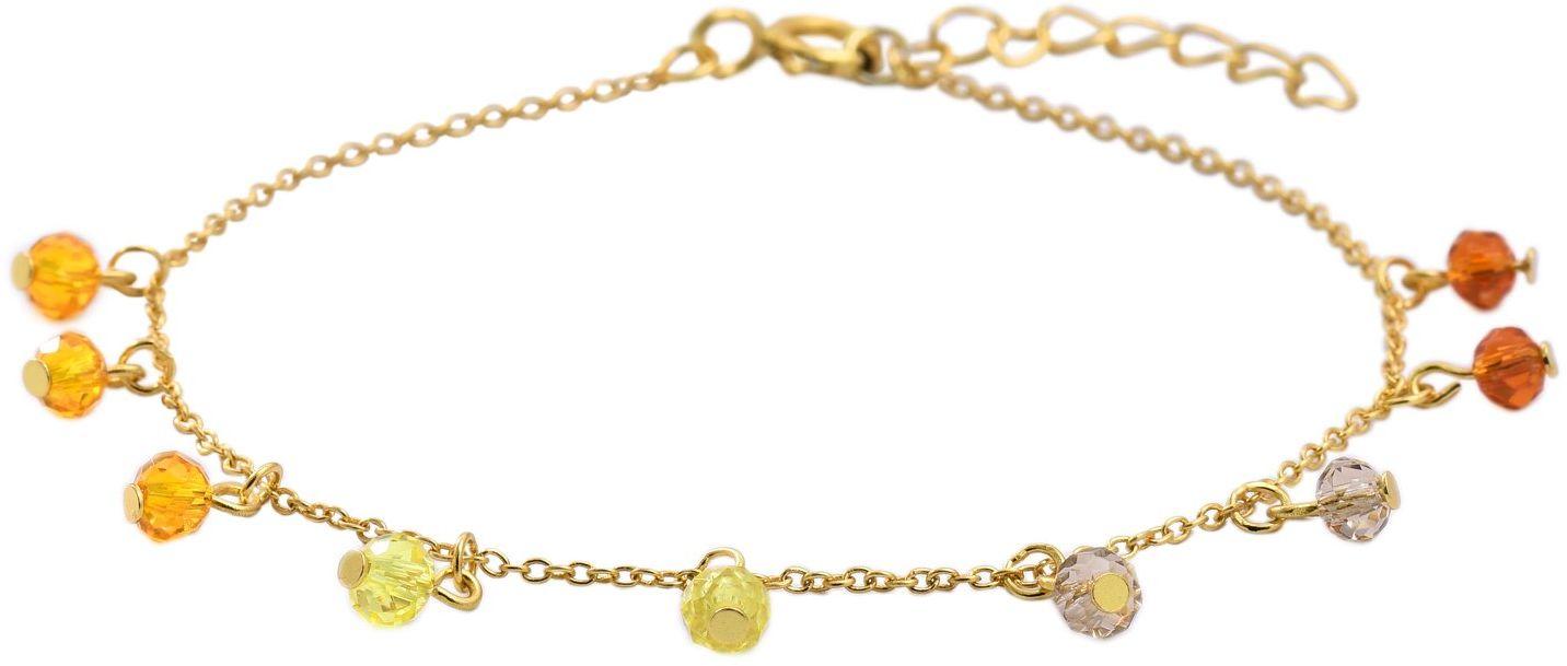 Złota Bransoletka Srebrna z Kolorowymi Cyrkoniami - 6