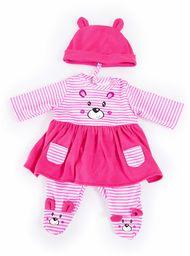 Bayer Design 83887AA ubranie dla lalek 33-38 cm, sukienka, spodnie, czapka, zestaw, strój z uroczym motywem niedźwiedzia, różowo-białe paski