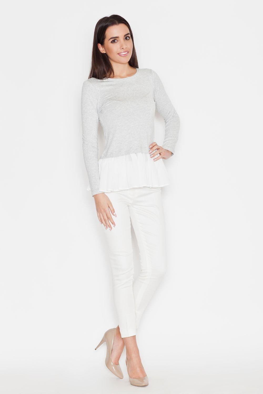 Jasnoszara kobieca bluzka z długim rękawem z tiulową falbanką