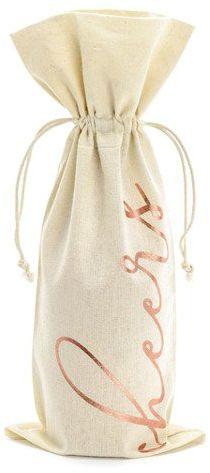 Woreczek bawełniany na wino Cheers różowe złoto 1 sztuka WRB3-019R-1x
