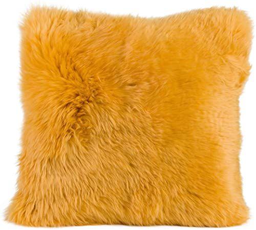 Gözze Poszewka na poduszkę ze skóry owczej, 40 x 40 cm, musztarda, 40149-16-4141