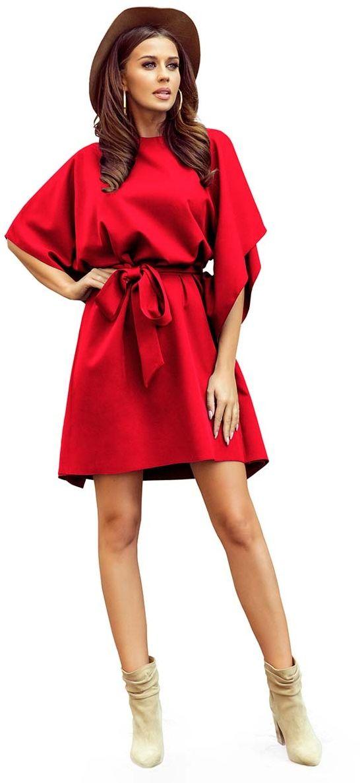 Czerwona sukienka typu motyl z paskiem
