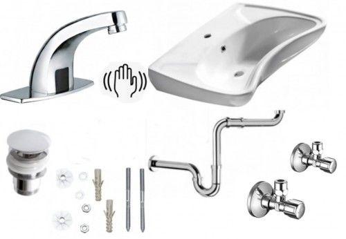 Komplet: Umywalka dla niepełnosprawnych 59x45,5 cm +bateria+ korek + śruby+ syfon+zaworki