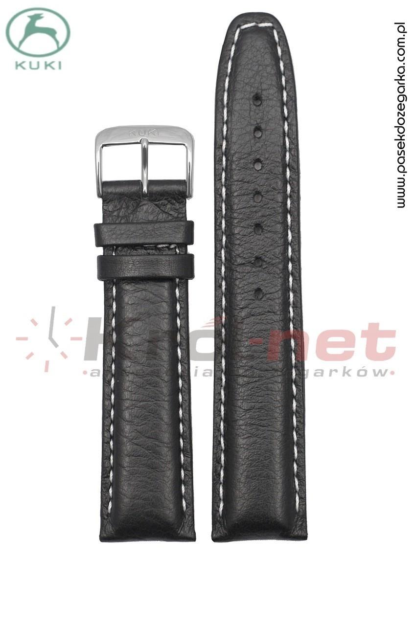 Pasek do zegarka Kuki 0308B/24 - czarny, gładki, jasne nici.