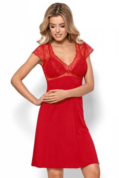 Damska koszula nocna nipplex by night bianca czerwona