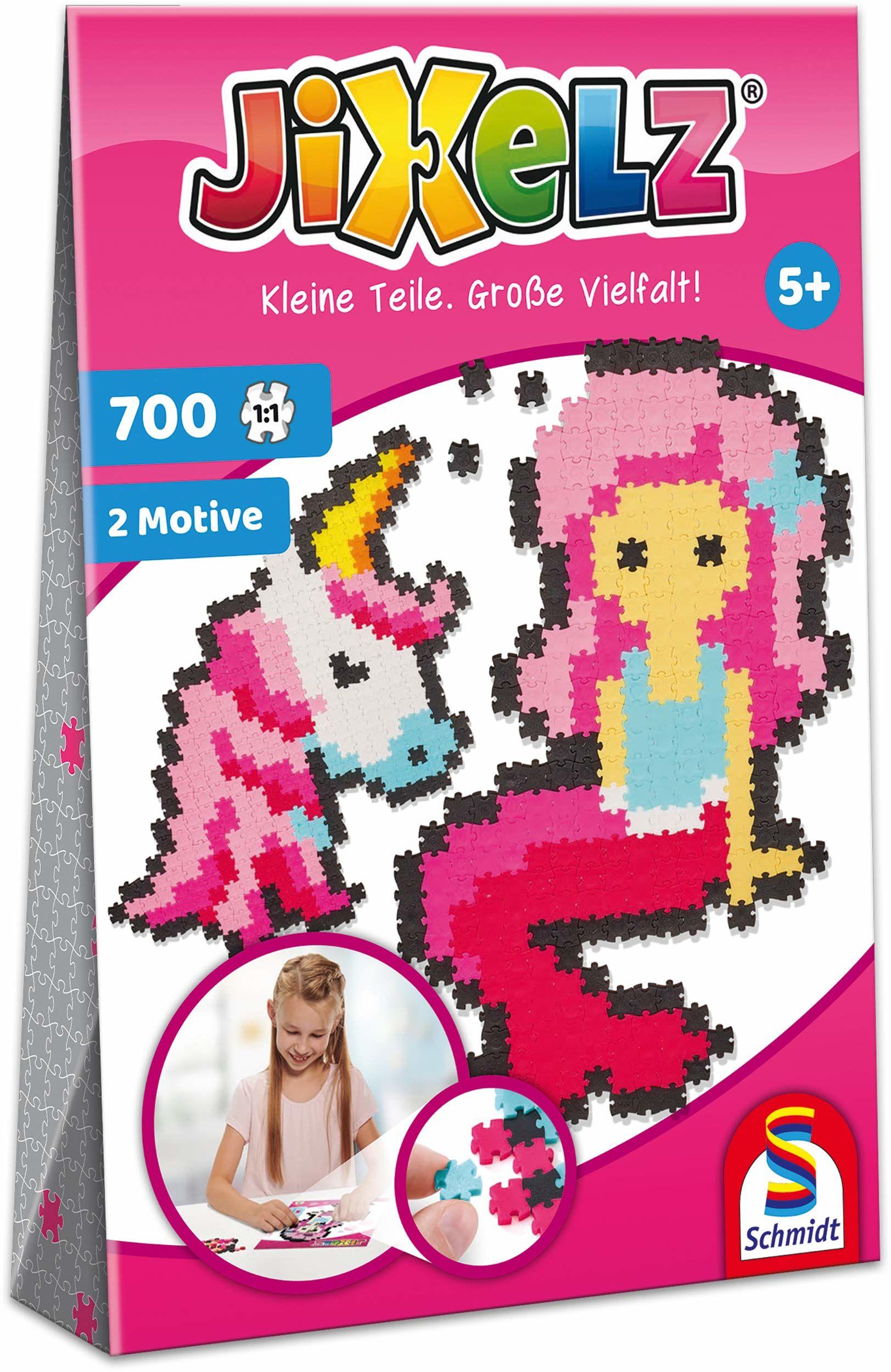 Schmidt Spiele 46115 Jixelz, jednorożec i syrenka, 700 części, 2 motywy, zestawy do majsterkowania dla dzieci, puzzle dziecięce