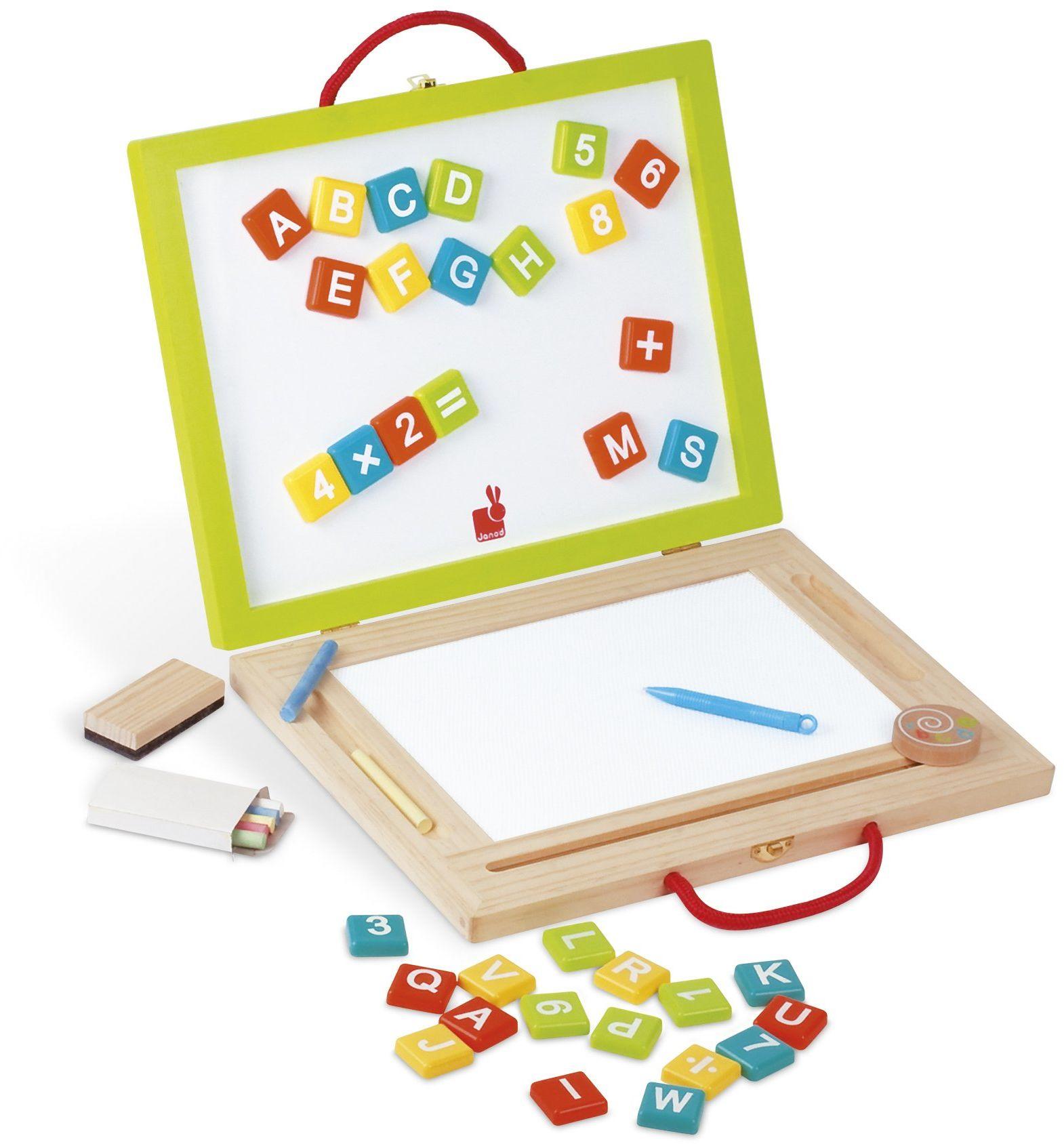 Janod J05014 - tablica magnetyczna i do pisania kredą Magic/składana - 44 części wyposażenia