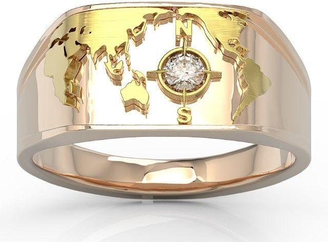 Sygnet morski z różowego i żółtego złota z brylantem sj-1410pz