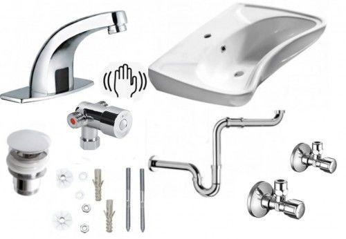 Komplet: Umywalka dla niepełnosprawnych 59x45,5 cm +bateria+ korek + śruby+ syfon+zaworki +Senso
