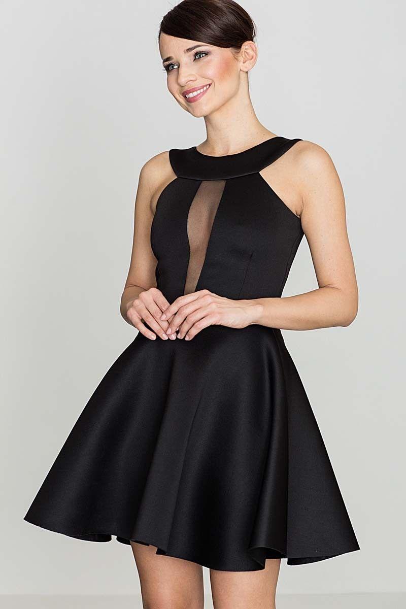 Czarna efektowna rozkloszowana sukienka z transparentną wstawką