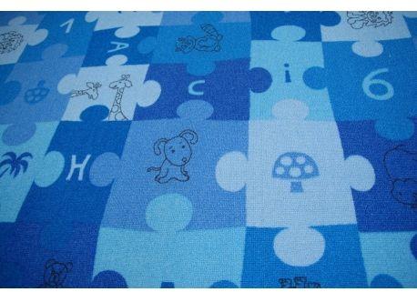 Dywan dziecięcy PUZZLE niebieski 100x100 cm