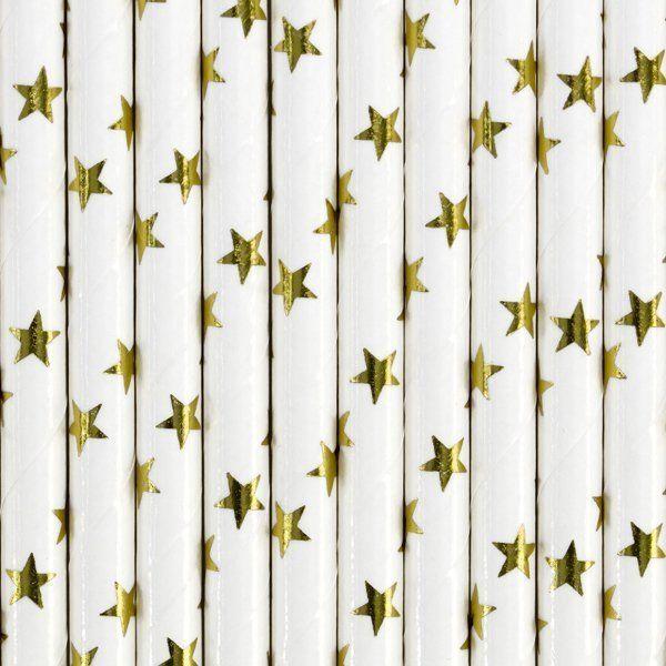 Słomki papierowe złote gwiazdki 10szt SPP5M-019