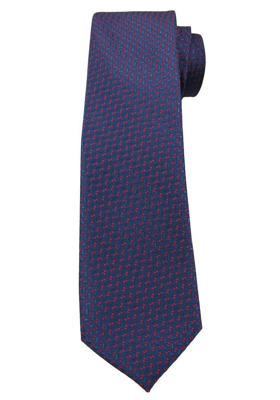 Ciemny Niebieski Elegancki Krawat -Angelo di Monti- 6 cm, Męski, w Czerwony Drobny Wzór KRADM1520