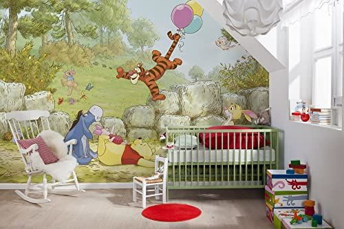 Komar Disney Kubuś Puchatek Baloning Tapeta Mural, Winyl, Wielokolorowa, 368 x 0,2 x 254 cm