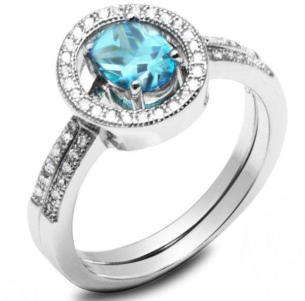 Podwójny Pierścionek Srebrny z Błękitnym Kamieniem