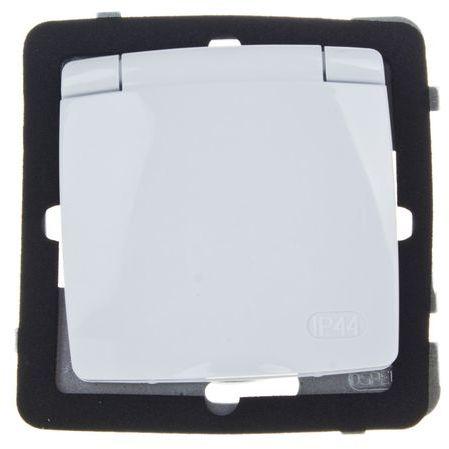 KARO Gniazdo bryzgoszczelne z/u IP44 klapka biała GPH-1SZ/m/00/w