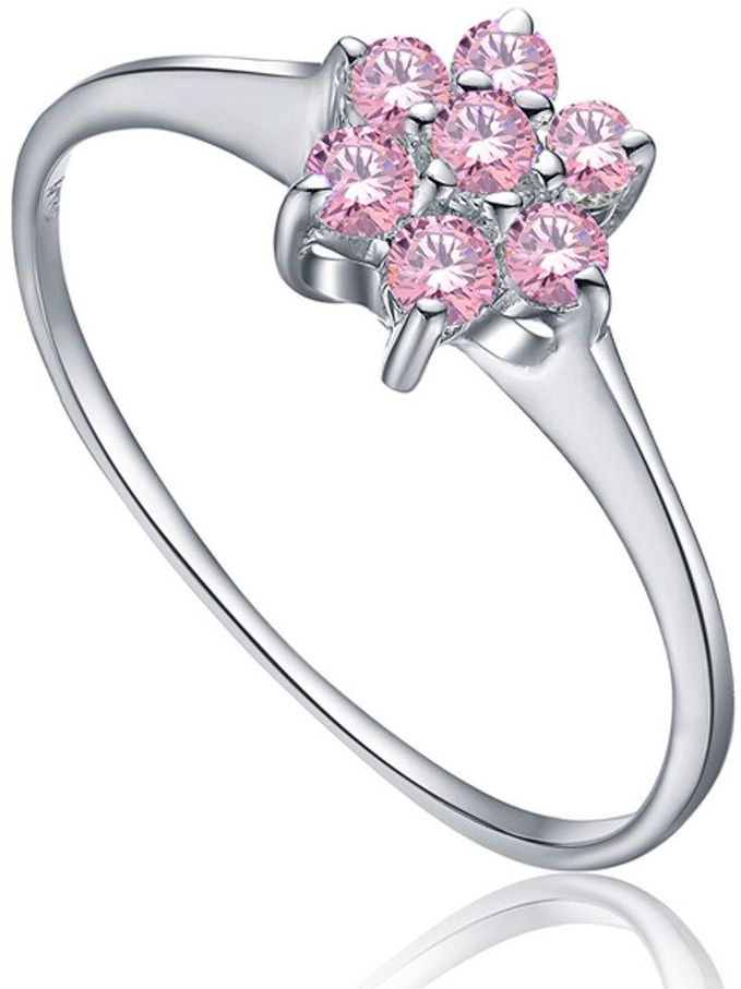 Srebrny Pierścionek Kwiat z Różowymi Kamieniami