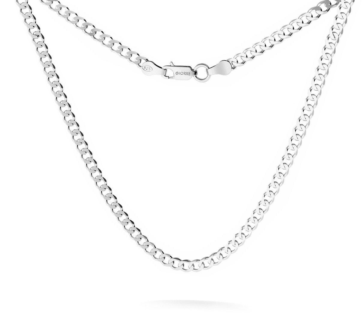 Męski łańcuszek pancerka, srebro 925 : Długość (cm) - 50, Srebro - kolor pokrycia - Pokrycie platyną
