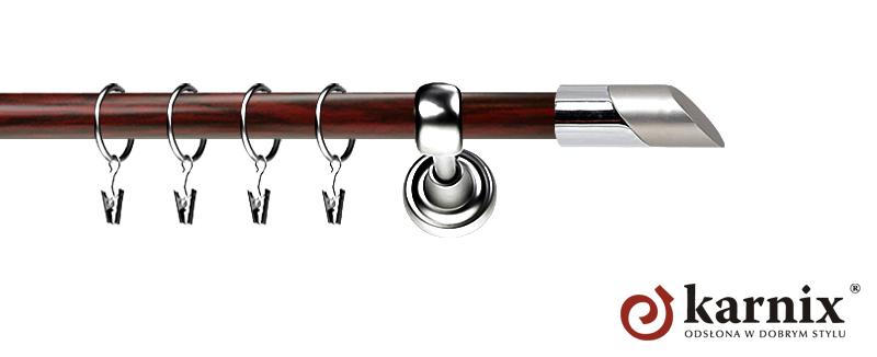 Karnisz Metalowy Prestige pojedynczy 19mm Falko INOX - mahoń