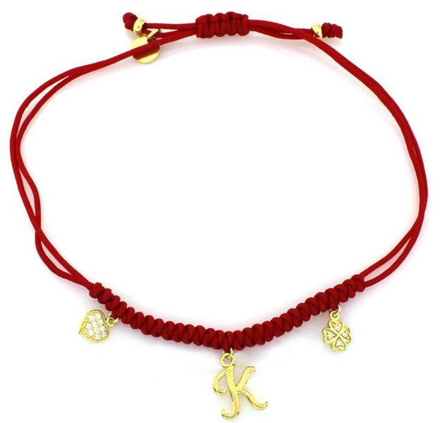 Srebrna bransoletka 925 czerwona z zawieszkami 2,08 g