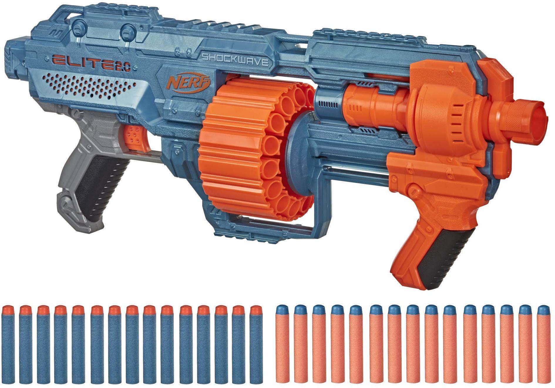 Hasbro E9527F03 Nerf Elite 2 Shockwave RD-15 Blaster, 30 rzutek Nerf, bęben rotacyjny 15 dard, szybkie ognisko z funkcją pompowania, z opcjami rozszerzenia, łatwe opakowanie