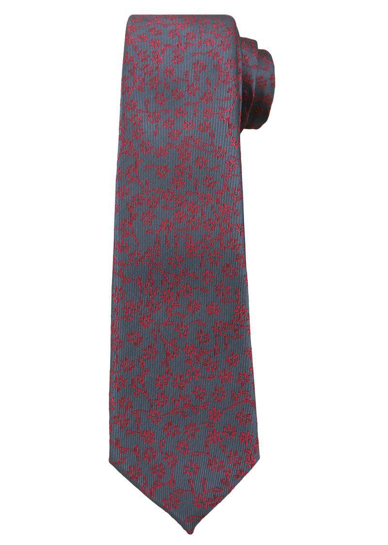 Popielaty Elegancki Krawat -Angelo di Monti- 6 cm, Męski, Czerwony Wzór Florystyczny KRADM1519