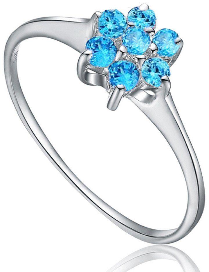 Srebrny Pierścionek Kwiat z Błękitnymi Kamieniami