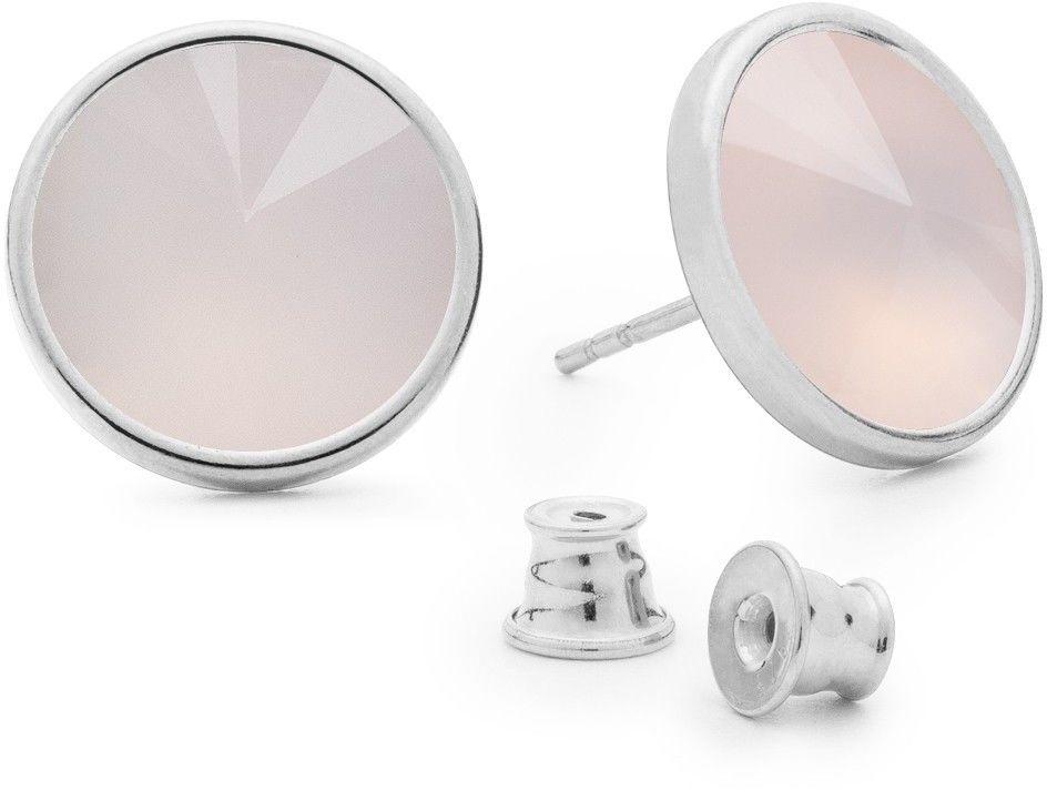 Srebrne kolczyki z kwarcem, srebro 925 : Kamienie naturalne - kolor - kwarc różowy jasny, Srebro - kolor pokrycia - Pokrycie platyną