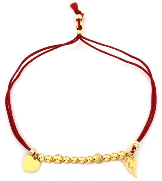 Srebrna bransoletka 925 czerwona z serduszkiem 2,68 g