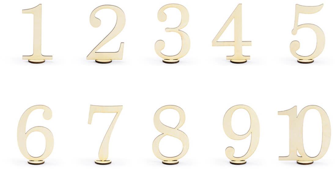 Drewniane numery na stół - 10 szt.