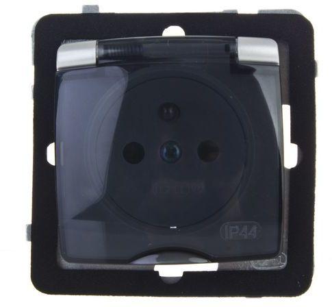 KARO Gniazdo bryzgoszczelne z/u IP44 z przesłonami klapka biała GPH-1SZP/m/00/w