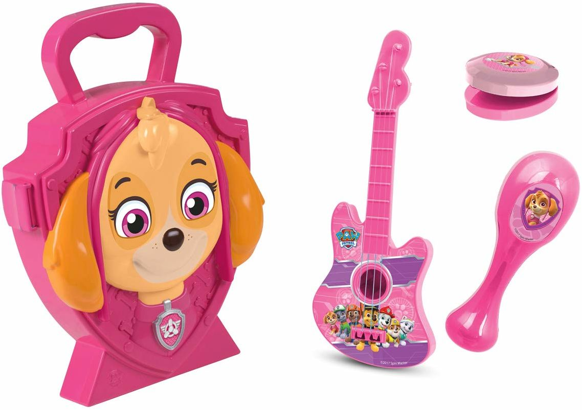 Jamara 410104 Skye-4-częściowy zestaw muzyczny do nauki, rytmu, stabilna i poręczna walizka z instrumentami muzycznymi, Psi Patrol Design Skye Case, różowa