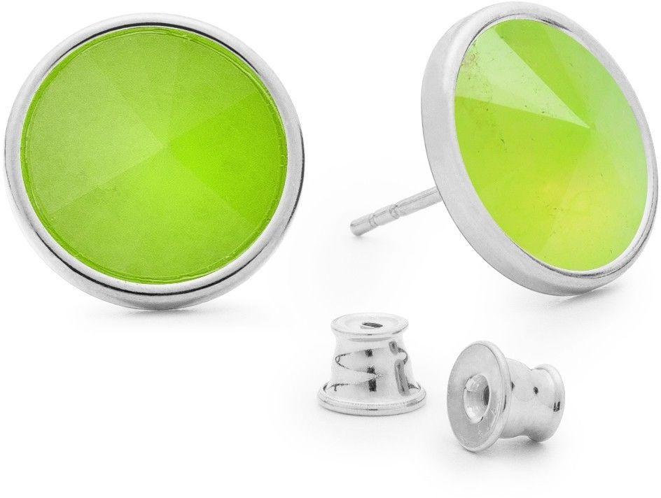 Srebrne kolczyki z naturalnym kamieniem, chryzopraz, srebro 925 : Kamienie naturalne - kolor - chryzopraz zielony jasny, Srebro - kolor pokrycia - Pokrycie platyną