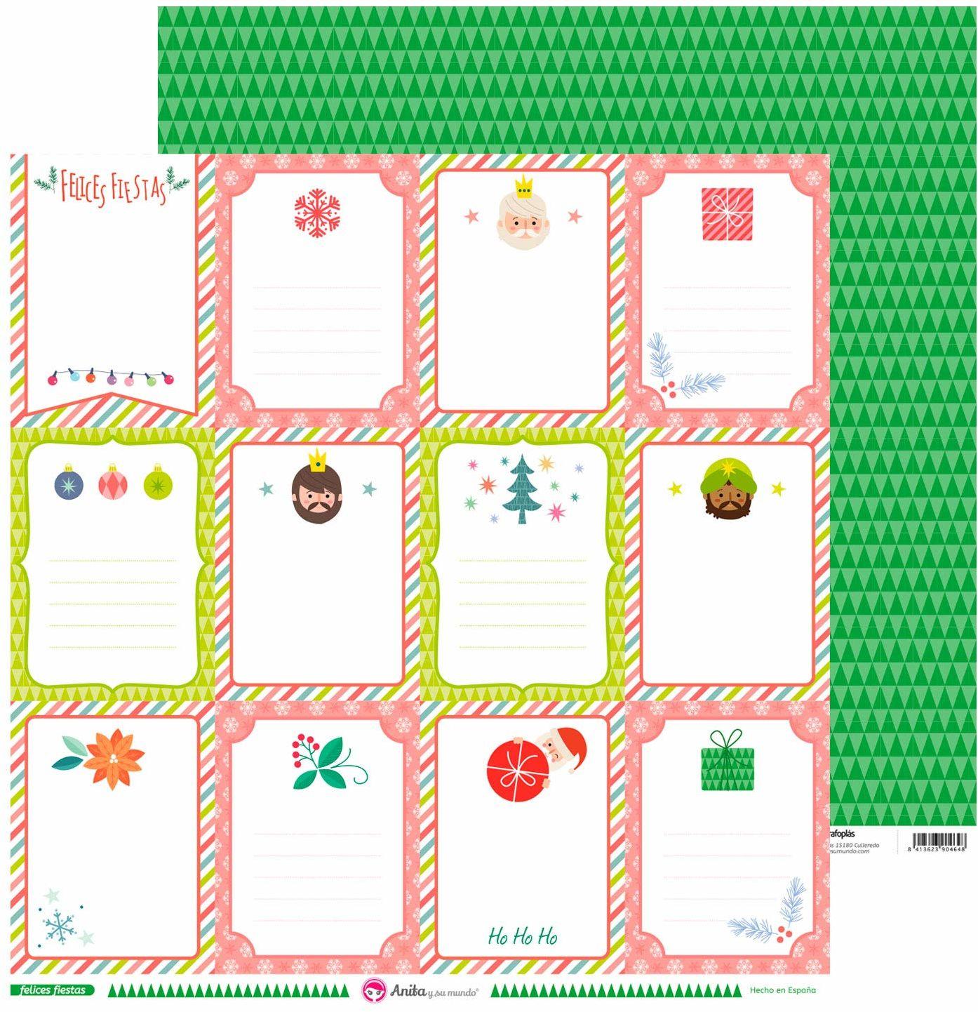 Anita & Seine Welt kartki z pozdrowieniami, zestaw szczęśliwych papierów, Boże Narodzenie, 30,5 x 30,5 cm, 5