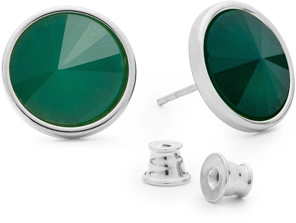 Srebrne kolczyki z jadeitem, srebro 925 : Kamienie naturalne - kolor - jadeit zielony jasny, Srebro - kolor pokrycia - Pokrycie platyną
