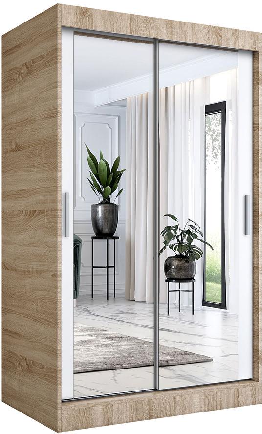 Przesuwna szafa z lustrem dąb sonoma + biały 120 - Edna 3X