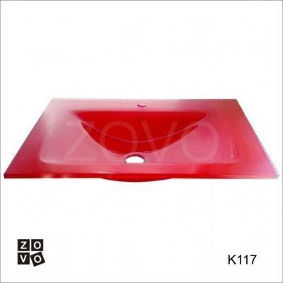 K117P. Czerwony prostokąt 70x50cm umywalka szklana