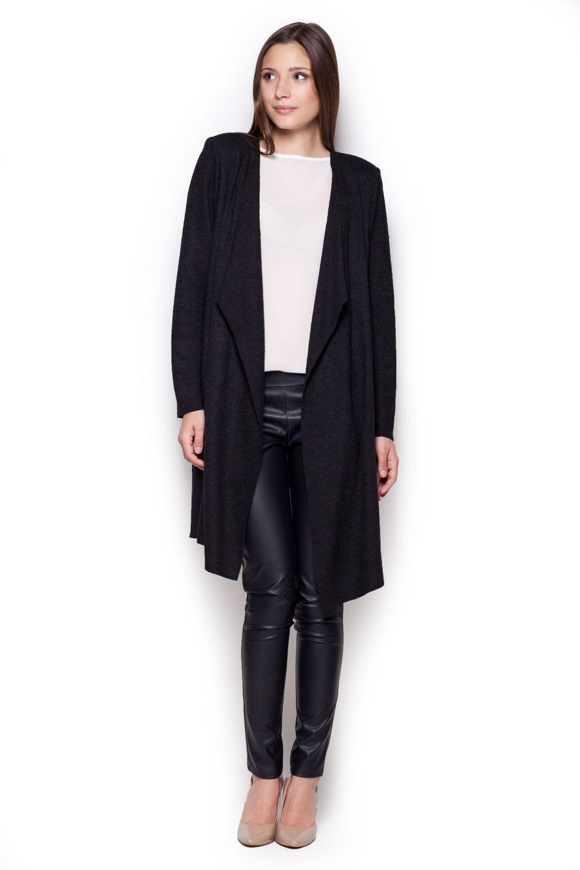 Czarny sweter - narzutka z wolnymi połami