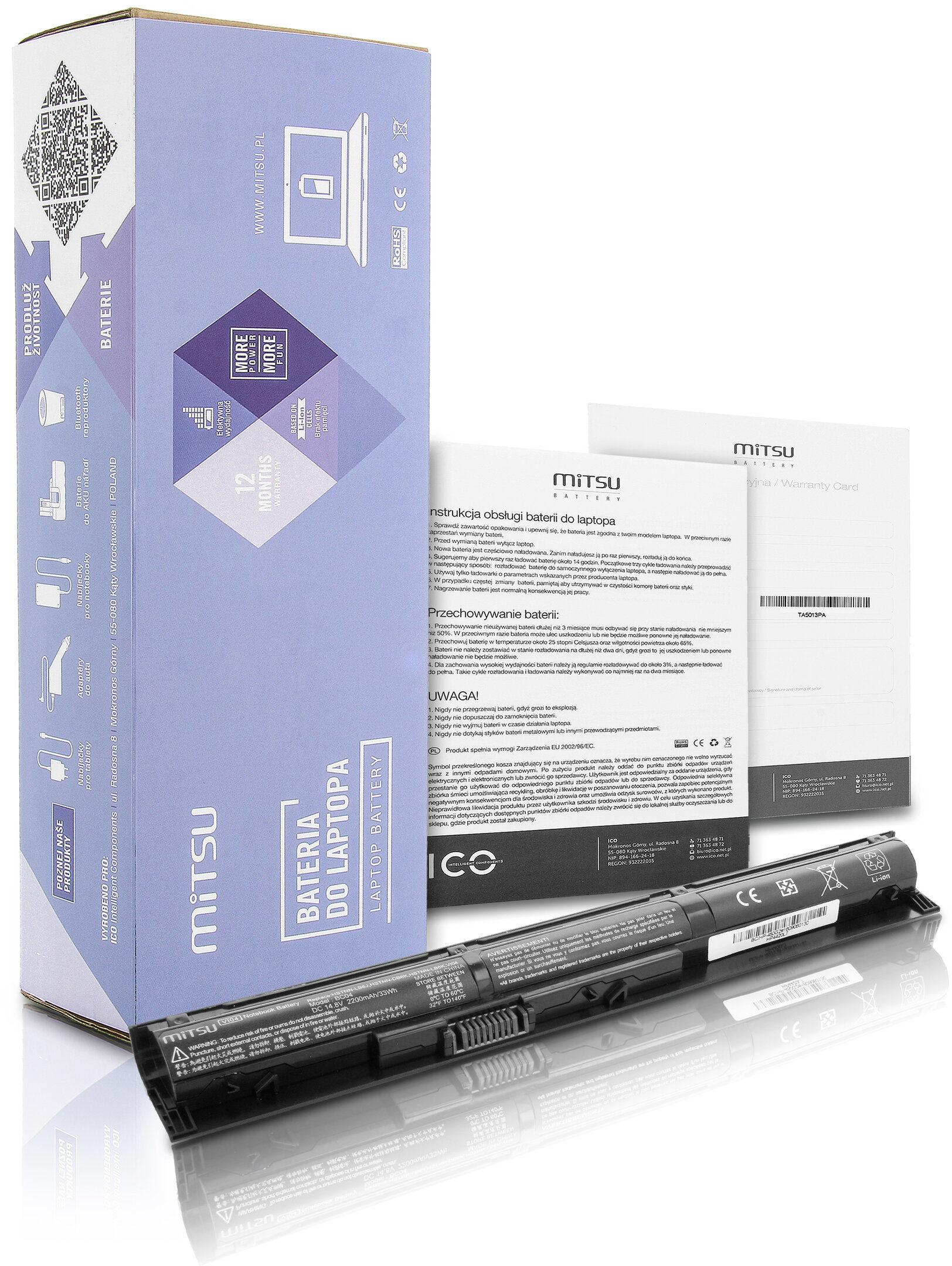 Bateria Mitsu do HP ProBook 440 G2, Pavilion 14,15,17 2200 mAh
