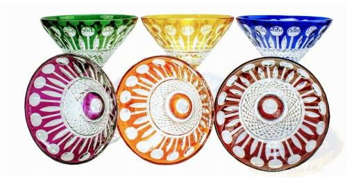 Kolorowe kryształowe kieliszki do Martini Francuskie 6 sztuk