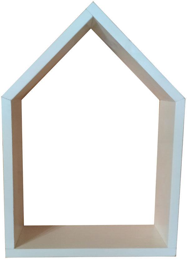 Biała drewniana półka na ścianę domek 30 kolorów - Dorina 3X