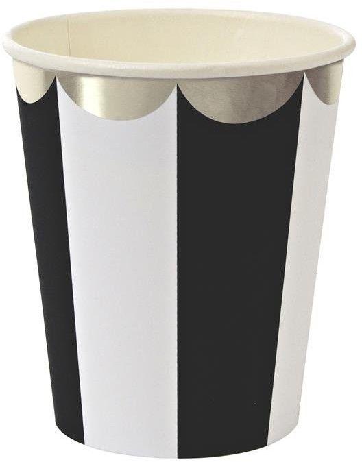Kubeczki Paski Biało - Czarne