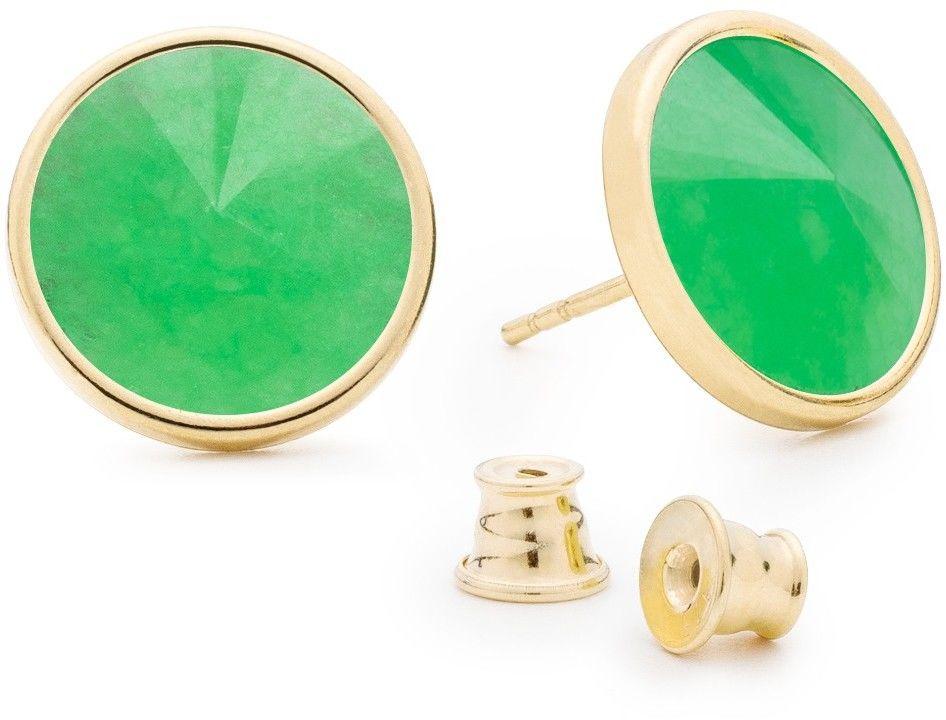 Srebrne kolczyki z naturalnym kamieniem, chryzopraz, srebro 925 : Kamienie naturalne - kolor - chryzopraz zielony ciemny, Srebro - kolor pokrycia - Pokrycie żółtym 18K złotem