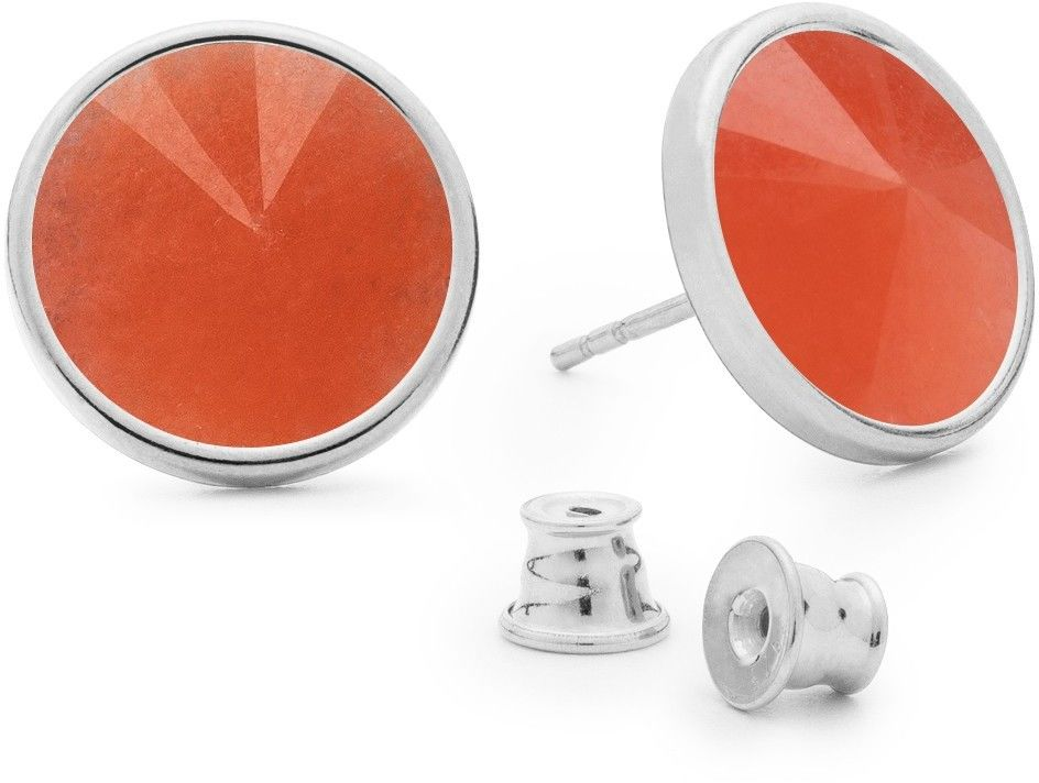 Srebrne kolczyki z jadeitem, srebro 925 : Kamienie naturalne - kolor - jadeit pomarańczowy, Srebro - kolor pokrycia - Pokrycie platyną