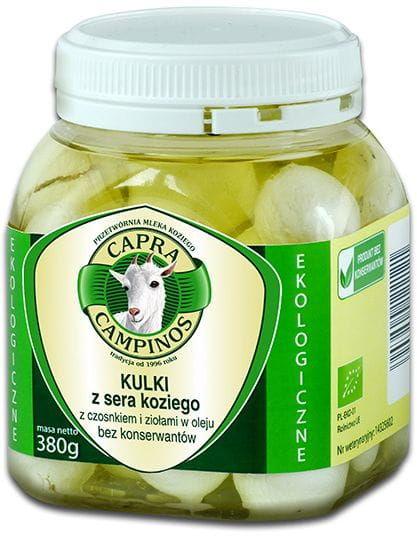 Kozi ser - kulki z czosnkiem i ziołami w oleju bio 380 g - capra campinos
